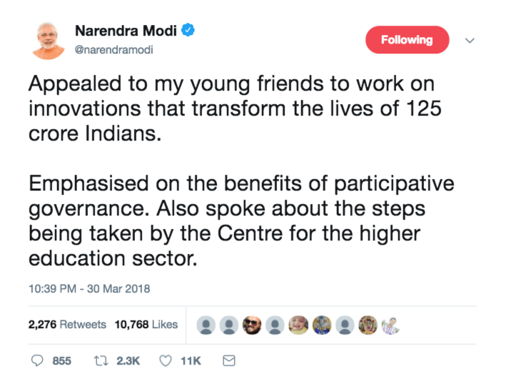 Modi Tweet Apeal to Youth