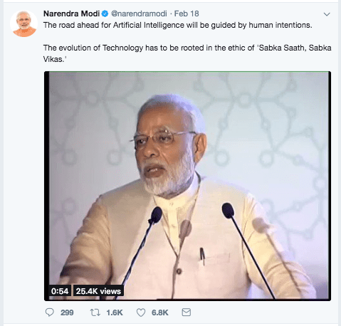 Modi Tweet Artificial Intelligence