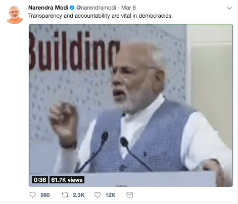 Modi Tweet democracy