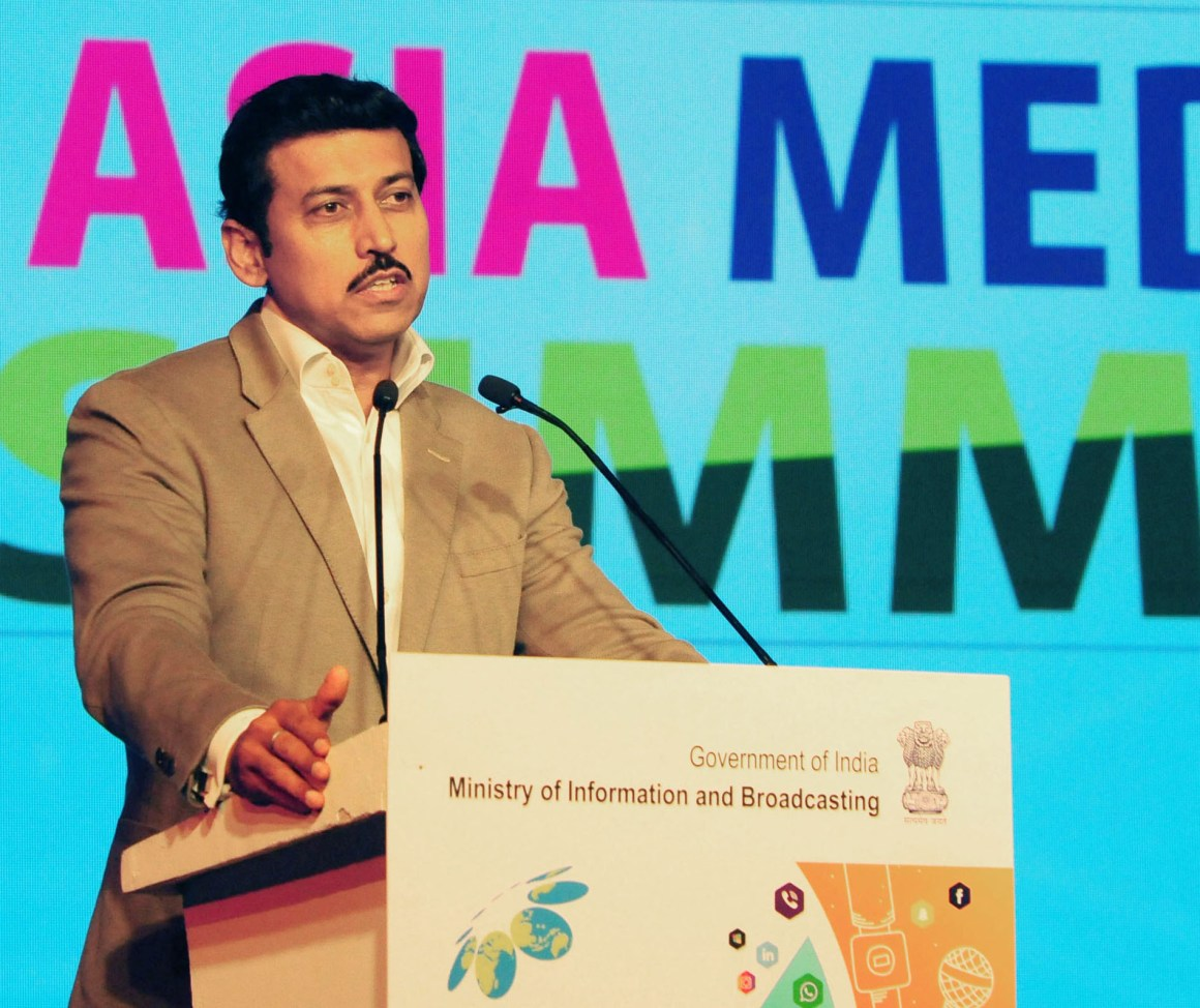 The Minister of State for Youth Affairs and Sports (I/C) and Information & Broadcasting, Col. Rajyavardhan Singh Rathore addressing the concluding session of the 15th Asia Media Summit, in New Delhi on May 11, 2018.