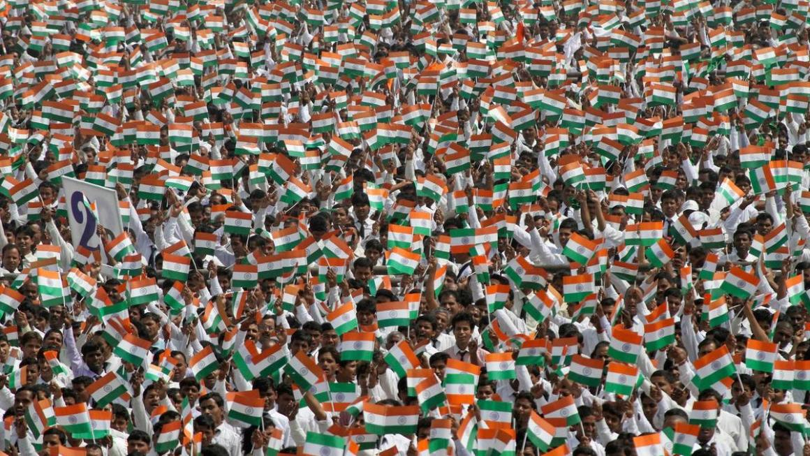 More than 100,000 employees of a company attempt to create a new world record by singing the national anthem together in the northern Indian city of Lucknow on May 6, 2013. Pawan Kumar / Reuters
