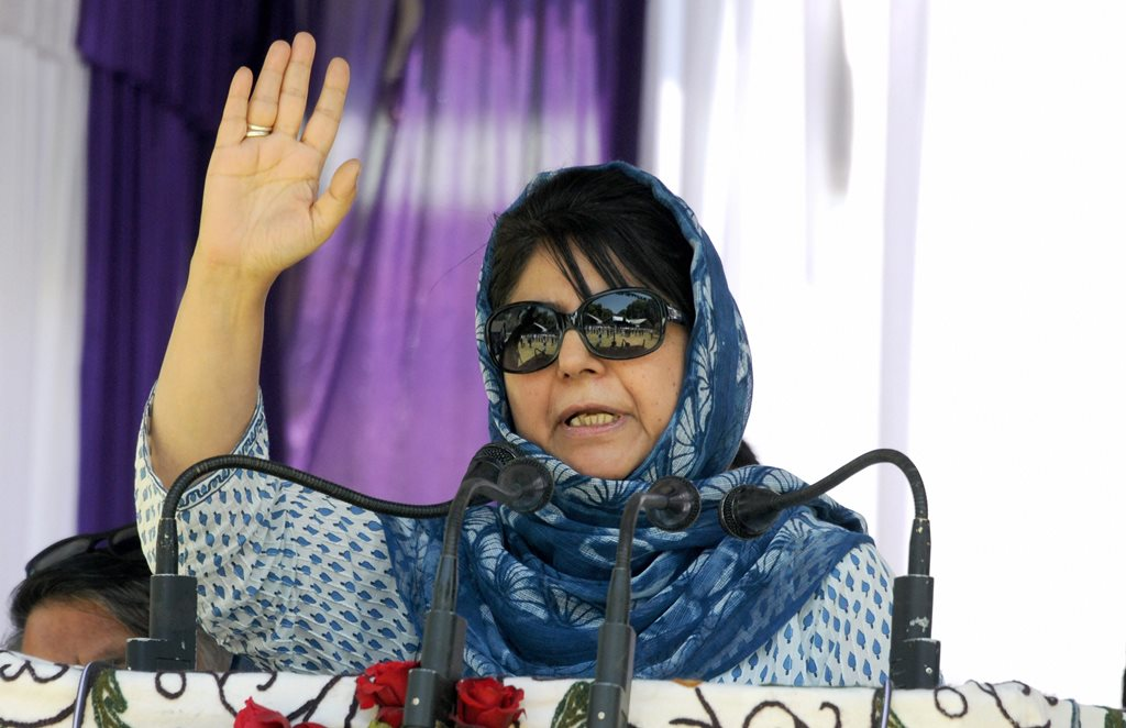 Srinagar: Jammu and Kashmir Chief Minister Mehbooba Mufti addresses a party worker's rally, in Srinagar, on Sunday, June 03, 2018. (PTI Photo)(PTI6_3_2018_000078B)