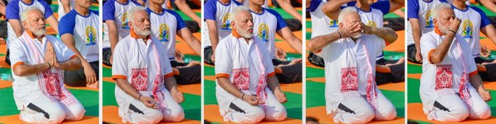**COMBO PHOTO** Dehradun: Prime Minister Narendra Modi performs yoga during a mass yoga event on 4th International Yoga Day at Forest Research Institute (FRI) ground in Dehradun, on Thursday, June 21, 2018. (PTI Photo/Manvender Vashist) (PTI6_21_2018_000173B)