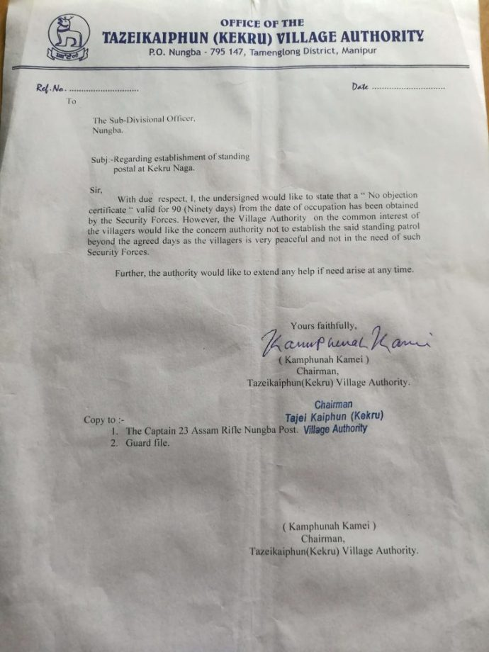 NoC Letter Human Shield Manipur