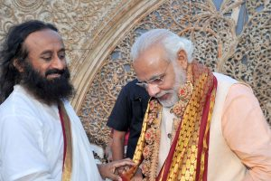 "The Prime Minister, Shri Narendra Modi with the Spiritual Leader and Founder of the ""Art of Living Foundation"", Sri Sri Ravi Shankar at World Culture Festival, in New Delhi on March 11, 2016."