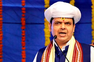 Pune: Maharashtra Chief Minister Devendra Fadnavis addresses after 'ground-breaking' ceremony of Krantiveer Chaphekar National Museum, at Chinchwad in Pune on Monday, July 23, 2018. (PTI Photo) (PTI7_23_2018_000095B)