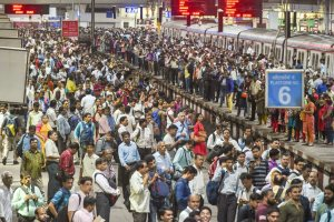 Mumbai: A view of the crowd of commuters at Chhatrapati Shivaji Maharaj Terminus on World Population Day (WPD), in Mumbai on Wednesday, July 11, 2018. The theme of WPD 2018 is ''Family planning is a human right'. (PTI Photo/Mitesh Bhuvad) (PTI7_11_2018_000195B)