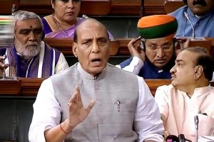 New Delhi: Home Minister Rajnath Singh speaks in the Lok Sabha during the Monsoon session of Parliament, in New Delhi on Thursday, July 19, 2018. (LSTV Grab via PTI) (PTI7_19_2018_000030B)