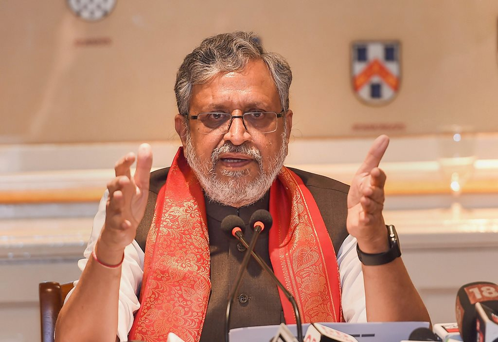 Bengaluru: Chairman of the State Finance Ministers Group and Bihar Deputy Chief Minister Sushil Kumar Modi speaks during a press conference after meeting with the group of ministers constituted to monitor and remove IT challenges faced in implementation of GST, in Bengaluru on Saturday, July 14, 2018. (PTI Photo/Shailendra Bhojak)(PTI7_14_2018_000148B)