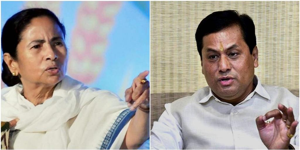 पश्चिम बंगाल की मुख्यमंत्री ममता बनर्जी और असम के मुख्यमंत्री सर्बानंद सोनोवाल. (फोटो: पीटीआई)