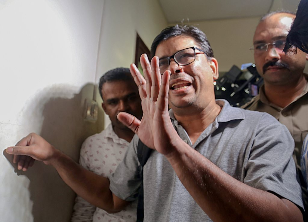 Mumbai: Arun Ferreira, a human rights activist and lawyer, after he was arrested by the Pune police in connection with Bhima Koregaon violence case, in Mumbai on Tuesday, August 28, 2018. (PTI Photo)(PTI8_28_2018_000178B)