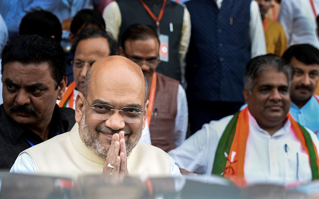 New Delhi: BJP President Amit Shah leaves after BJP National Executive Meeting, in New Delhi, Sunday, Sept 9, 2018. (PTI Photo/Atul Yadav) (PTI9_9_2018_000109B)