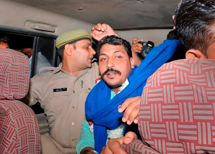 Saharanpur: Bhim Army chief Chandrashekhar Azad being released from Saharanpur Jail, in Saharanpur, Friday, Sept 14, 2018. Azad was arrested from Himachal Pradesh's Dalhousie in June last year in connection with the May 5 caste violence in which one person was killed and 16 others were injured at Shabbirpur village in Saharanpur. (PTI Photo) (PTI9_14_2018_000121B)