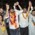 New Delhi: ABVP's panel's newly elected DUSU President Ankiv Basoya (3rd R) Shakti Singh (Vice President) and Joint Secretary, Jyoti Choudhary (L) celebrate after DUSU Election Result 2018, in New Delhi, Thursday, Sep 13, 2018. (PTI Photo)(PTI9_13_2018_000188B)