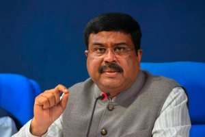 New Delhi: Petroleum & Natural Gas Minister Dharmendra Pradhan speaks during a cabinet briefing, in New Delhi, Wednesday, Sept 12, 2018. (PTI Photo/Shahbaz Khan) (PTI9_12_2018_000092B)