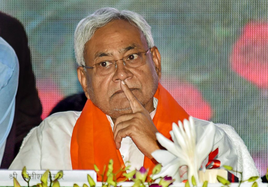 Patna: Bihar Chief Minister Nitish Kumar attends the foundation stone laying ceremony of 'Multipurpose Prakash Kendra and Udyan' at the campus of Guru Ka Bagh in Patna, Sunday, Sept 9, 2018. (PTI Photo)(PTI9_9_2018_000102B)