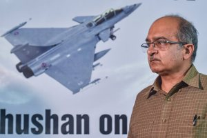 Ahmedabad: Lawyer-activist Prashant Bhushan addresses the media on the alleged corruption in Rafael Deal, in Ahmedabad, Saturday, Sept 8, 2018. (PTI Photo/Santosh Hirlekar) (PTI9_8_2018_000111B)
