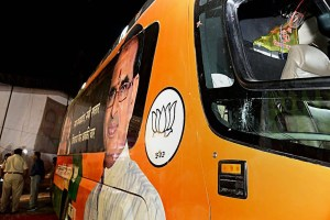 Sidhi: A view of the damaged bus of Madhya Pradesh Chief Minister Shivraj Singh Chouhan after he was attacked on board during his 'Jan Ashirwad Yatra', in Sidhi on Sunday, Sept 2, 2018. (PTI Photo) (PTI9_3_2018_000075B)