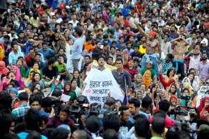 Students protest in Dhaka University demanding a cut in job reservations in civil service exams. Credit: Nabiullah Nabi