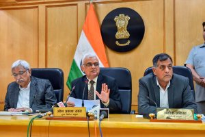 New Delhi: Chief Election Commissioner OP Rawat flanked by Election Commissioners Sunil Arora (L) and Ashok Lavasa (R) address a press conference to announce the dates for elections in five states, in Delhi, Saturday, Oct 6,2018. ( PTI Photo/ Kamal Singh) (PTI10_6_2018_000084B)