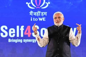 "New Delhi: Prime Minister, Narendra Modi interacting with the IT electronic manufacturing Professionals on Self4Society, at the launch of the ""Main Nahin Hum"" Portal & App, in New Delhi, Wednesday, Oct 24, 2018. (PIB Photo via PTI)(PTI10_24_2018_000200B)"