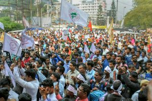 Guwahati: Krishak Mukti Sangram Samiti activists stage a protest against the Citizenship Amendment Bill 2016 at Ganeshguri, in Guwahati, Friday, Nov. 16, 2018. (PTI Photo) (PTI11_16_2018_000017B)