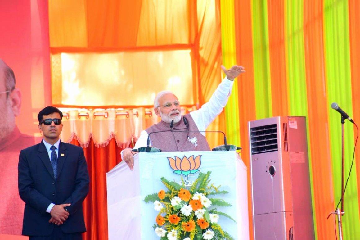 मध्य प्रदेश के छिंदवाड़ा में एक चुनावी रैली के दौरान प्रधानमंत्री नरेंद्र मोदी (फोटो: ट्विटर/भाजपा)