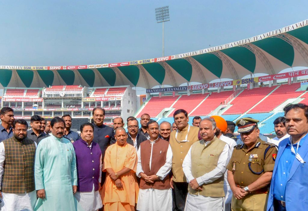 Lucknow: Uttar Pradesh Chief Minister Yogi Adityanath inaugurates newly-constructed 'Ekana International Stadium' after former prime minister Atal Bihari Vajpayee', in Lucknow, Tuesday, Nov 06, 2018. (PTI Photo)(PTI11_6_2018_000081B)