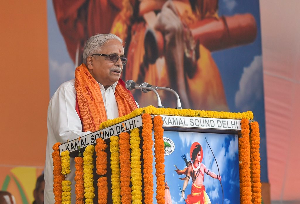 New Delhi: Senior RSS leader Suresh 'Bhaiyyaji' Joshi addresses during Vishwa Hindu Parishad's (VHP) 'Dharma Sabha', in which thousands of people gathered at Ramlila Maidan to press for the construction of Ram Temple in Ayodhya, days before Parliament's winter session commences, in New Delhi, Sunday, Dec. 9, 2018. (PTI Photo/Atul Yadav) (PTI12_9_2018_000123B)