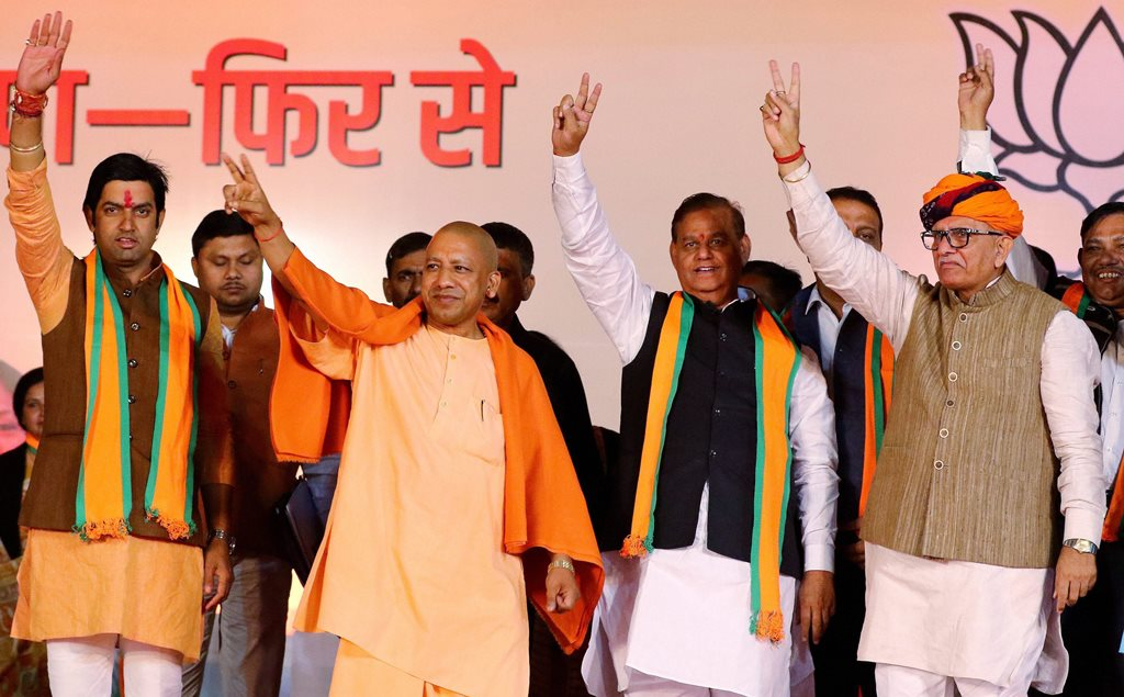 Jaipur: Uttar Pradesh Chief Minister Yogi Adityanath with BJP senior leaders and party's candidates at an election compaign meeting for the Rajasthan state assembly polls, at Jamdoli in Jaipur on Saturday, Dec 01,2018. (PTI Photo)(PTI12_1_2018_000154B)