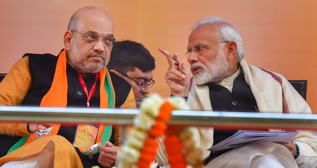 New Delhi: Prime Minister Narendra Modi and BJP President Amit Shah during the two-day BJP National Convention at Ramlila Ground , in New Delhi on Saturday,Jan 12,2018.( PTI Photo/ Kamal Kishore)(PTI1_12_2019_000028B)