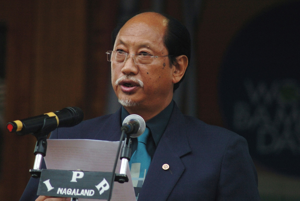 The Chief Minister of Nagaland, Shri Neiphiu Rio addressing at the inauguration of the World Bamboo Day function, at Kisama Heritage Village, in Kohima, Nagaland on September 18, 2010.