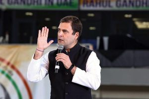 Dubai: Congress President Rahul Gandhi addresses Indian diaspora, in Dubai, Friday, Jan 11, 2019. (Twitter Photo via PTI) (PTI1_11_2019_000206B)