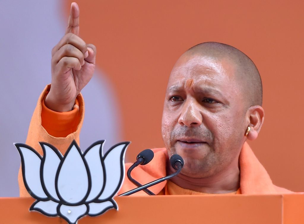 New Delhi: Uttar Pradesh Chief Minister Yogi Adityanath addresses on the second day of the two-day BJP National Convention, at Ramlila Ground in New Delhi, Saturday, Jan 12, 2019. (PTI Photo/Kamal Kishore)(PTI1_12_2019_000148B)