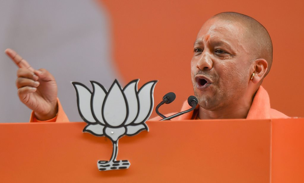 New Delhi: Uttar Pradesh Chief Minister Yogi Adityanath addresses on the second day of the two-day BJP National Convention, at Ramlila Ground in New Delhi, Saturday, Jan 12, 2019. (PTI Photo/Kamal Kishore) (PTI1_12_2019_000162B)