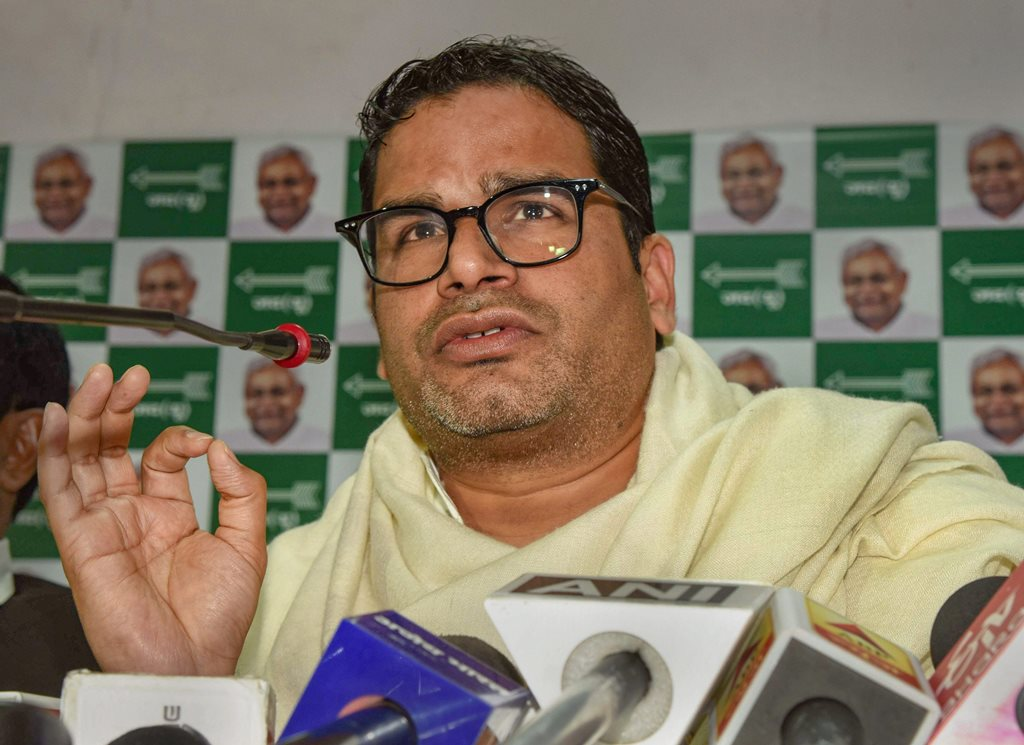 Patna: Election strategist and JDU leader Prashant Kishor addresses a press conference at his party office, in Patna, Monday, Feb. 11, 2019. (PTI Photo)(PTI2_11_2019_000098B)