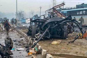 Awantipora: A scene of the spot after militants attacked a CRPF convoy in Goripora area of Awantipora town in Pulwama district, Thursday, Feb 14, 2019. At least 18 CRPF jawans were reportedly killed in the attack. (PTI Photo) (PTI2_14_2019_000088B)