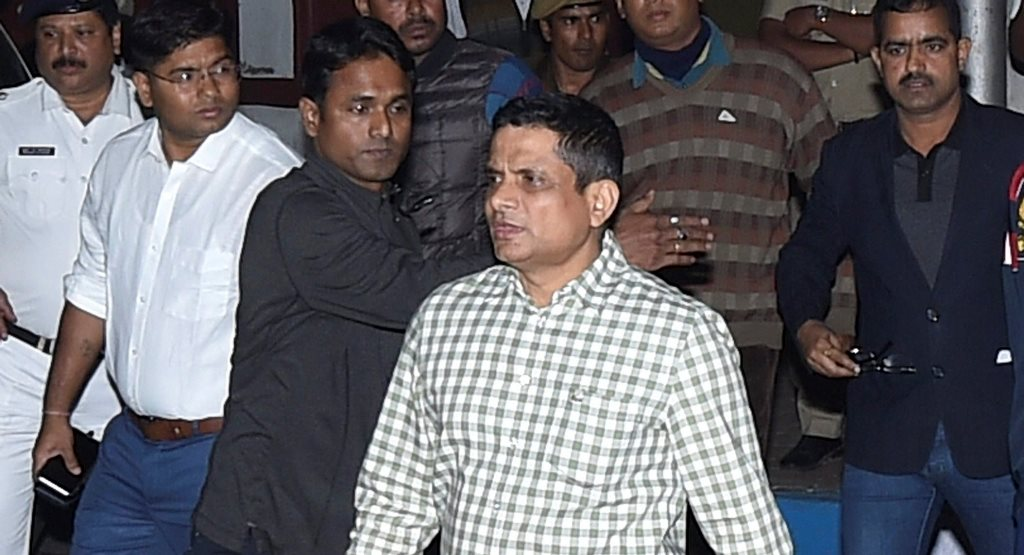 Kolkata: Kolkata Police Commissioner Rajeev Kumar at out side his residence, after CBI offcials were detained by Kolkata police those came to questioning him in connection with the Saradha ponzi scam, in Kolkata, Sunday late evening, Feb 03, 2019. (PTI Photo/Swapan Mahapatra) (PTI2_3_2019_000236B)