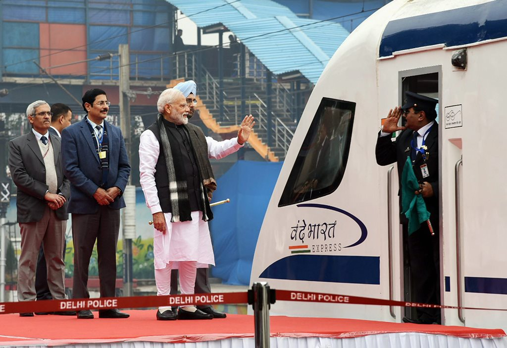 New Delhi: Prime Minister Narendra Modi flags off Vande Bharat Express, India's first semi-high speed train, at New Delhi Railway Station, Friday, Feb.15, 2019. The train will run between Delhi-Varanasi. (PIB Photo via PTI) (PTI2_15_2019_000042B)