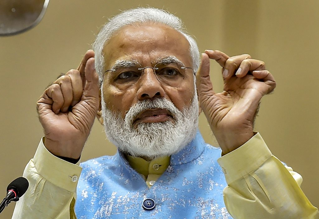New Delhi: Prime Minister Narendra Modi speaks during the National Youth Parliament Festival, 2019 Awards function, in New Delhi, Wednesday, Feb 27, 2019. (PTI Photo/Manvender Vashist) (PTI2_27_2019_000026B)