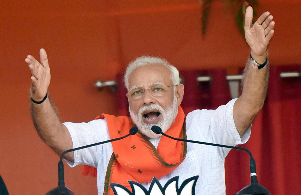 Forbesganj: Prime Minister Narendra Modi addresses an election rally at Araria lok sabha constituency, in Forbesganj, Saturday, April 20, 2019. (PTI Photo) (PTI4_20_2019_000038B)