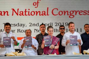 New Delhi: Congress President Rahul Gandhi, senior party leaders Sonia Gandhi, AK Antony and Congress General Secretary K C Venugopal release party's manifesto for Lok Sabha polls 2019, in New Delhi, Tuesday, April 02, 2019. (PTI Photo/Kamal Singh)(PTI4_2_2019_000041B)