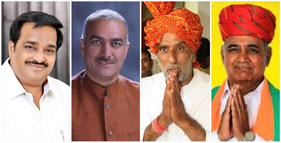 भाजपा उम्मीदवार सीआर पाटिल, संजय भाटिया, कृष्ण पाल और सुभाष चंद्र बहेड़िया (बाएं से दाएं) ने छह लाख से ज़्यादा मतों से लोकसभा चुनाव में जीत दर्ज की. (फोटो साभार: फेसबुक)