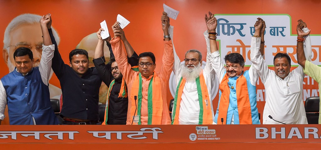 New Delhi: Former TMC MLA Manirul Islam in the presence of BJP leaders joins the party, in New Delhi, Wednesday, May 29, 2019. (PTI Photo/Atul Yadav) (PTI5_29_2019_000088B)