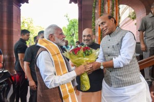 New Delhi: Prime Minister Narendra Modi being greeted by BJP leader Rajnath Singh upon his arrival at Parliament House, in New Delhi, Saturday, May 25, 2019. (PTI Photo/Atul Yadav) (PTI5_25_2019_000151B)(PTI5_25_2019_000202B)