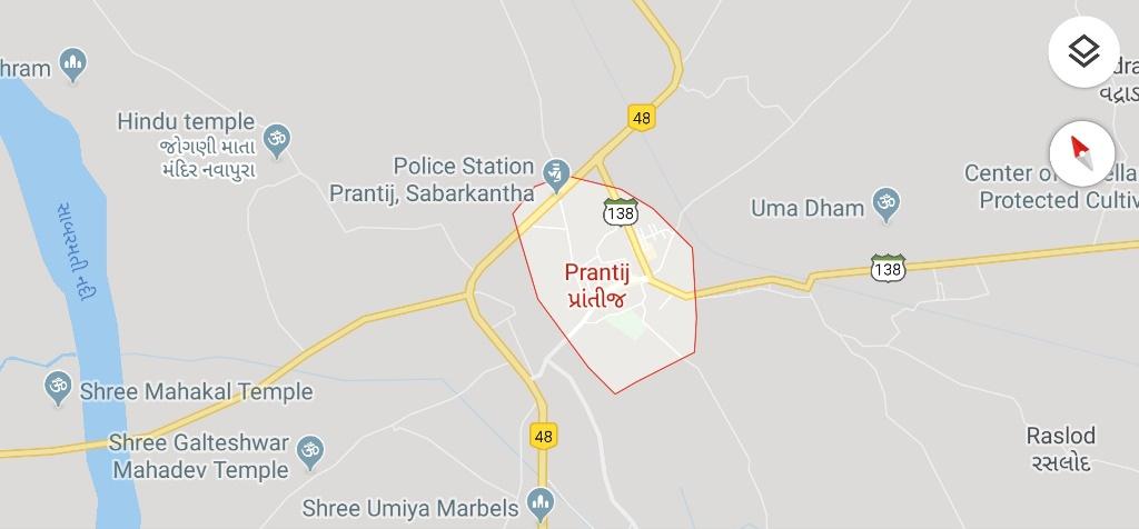 Prantij Sabarkantha Map