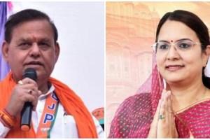 जयपुर शहर सीट से भाजपा उम्मीदवार रामचरण बोहरा और कांग्रेस प्रत्याशी ज्योति खंडेलवाल. (फोटो साभार: फेसबुक)