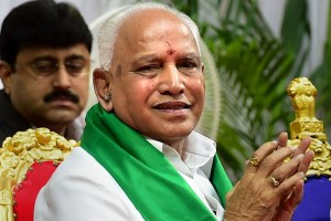Bengaluru: BJP leader B S Yeddyurappa during his swearing in ceremony as Karnataka Chief Minister, at Raj Bhavan in Bengaluru, Friday, July 26, 2019. (PTI Photo/Shailendra Bhojak)(PTI7_26_2019_000212B)