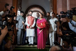 New Delhi: Finance Minister Nirmala Sitharaman and MoS Anurag Thakur arrive at Parliament to present the Union Budget 2019-20, in New Delhi, Friday, July 05, 2019. (PTI Photo/Shahbaz Khan)(PTI7_5_2019_000064B)