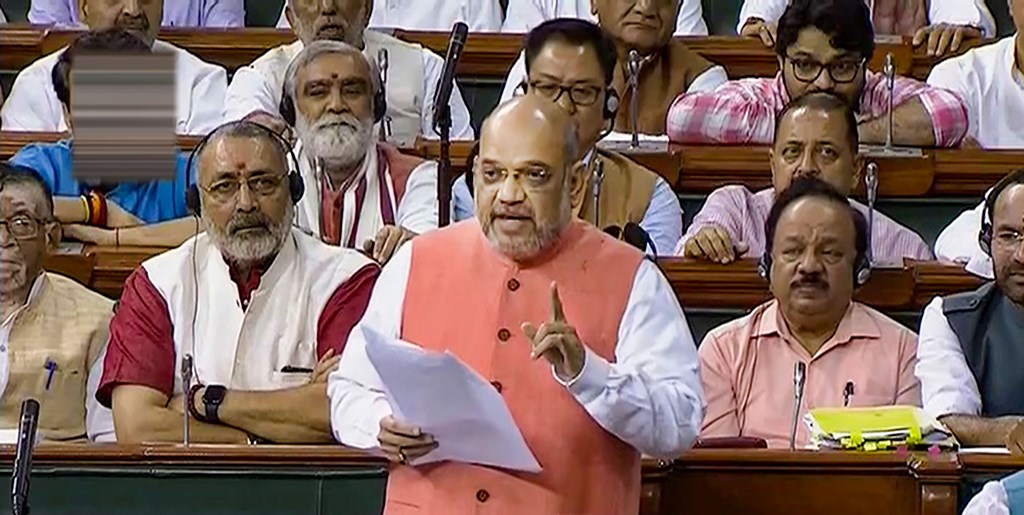 New Delhi: Union Home Minister Amit Shah speaks during the resolution on Kashmir in the Lok Sabha, in New Delhi, Tuesday, Aug 6, 2019. (LSTV/PTI Photo) (PTI8_6_2019_000028B)